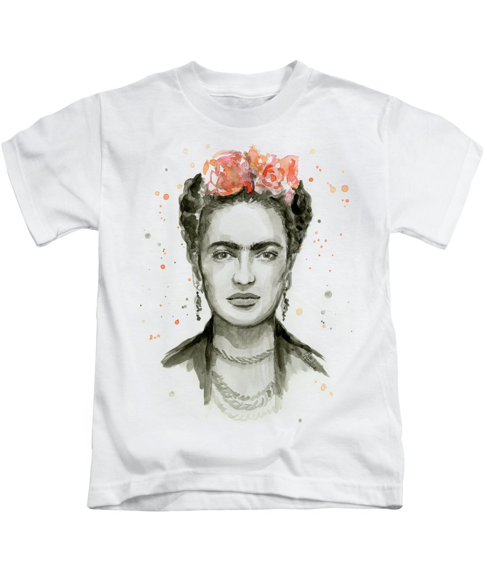 Frida Kahlo Kids T-Shirt featuring the painting Frida Kahlo Portrait by Olga Shvartsur