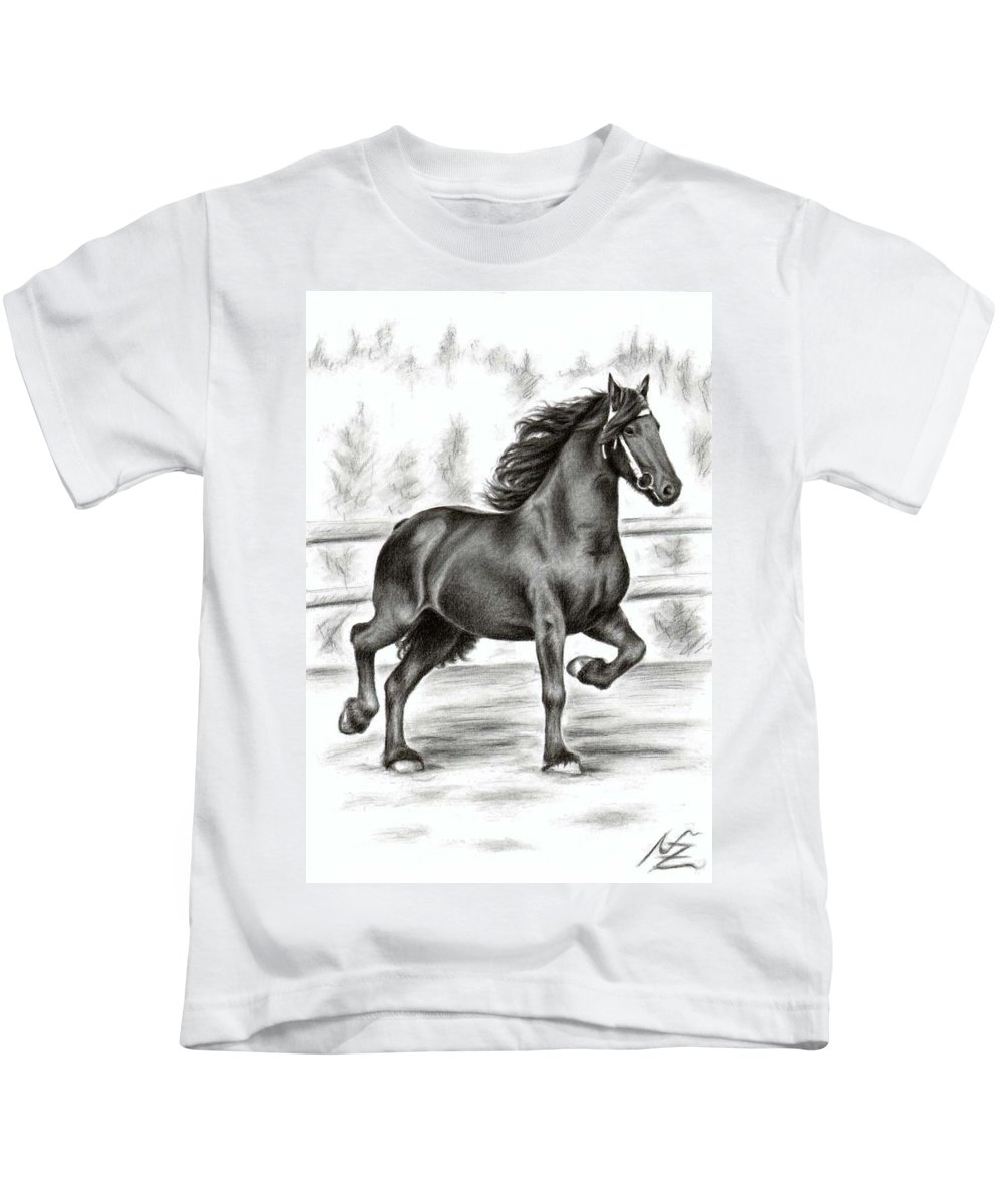 Horse Kids T-Shirt featuring the drawing Friesian Horse by Nicole Zeug