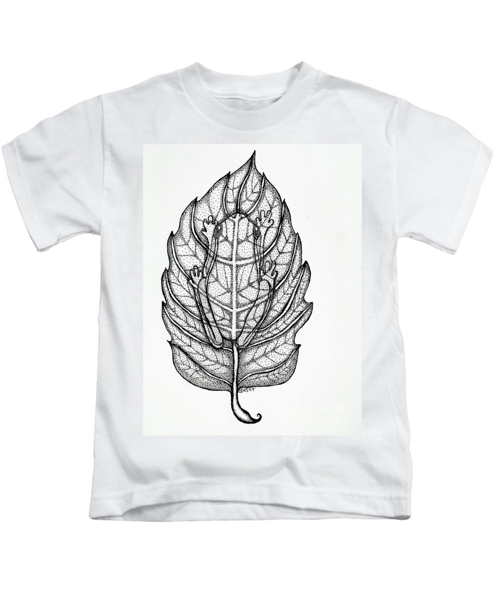 Frog Kids T-Shirt featuring the drawing Frog On A Leaf by Nick Gustafson