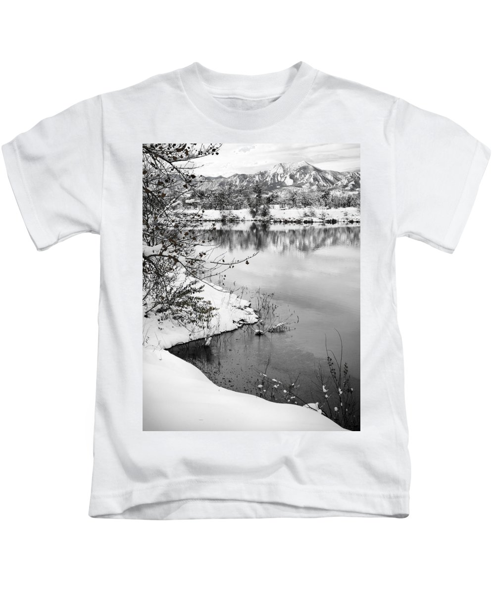Colorado Kids T-Shirt featuring the photograph Frosty Flatirons by Marilyn Hunt
