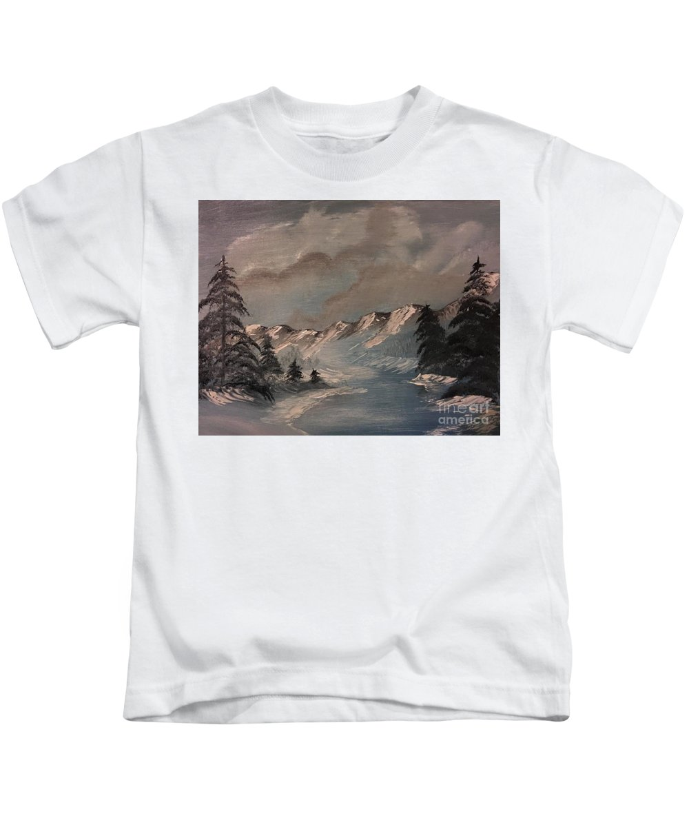Frozen Kids T-Shirt featuring the painting Frozen River by Sonny Sinay