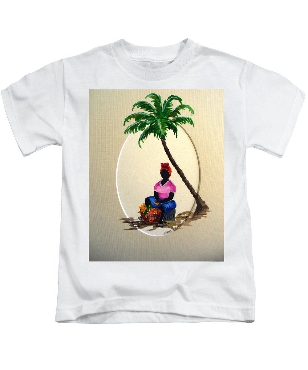 Kids T-Shirt featuring the painting Fruit Seller by Karin Dawn Kelshall- Best