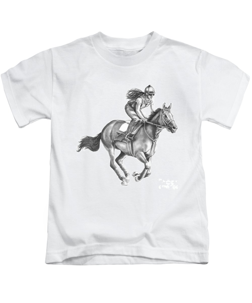 Horse Kids T-Shirt featuring the drawing Full Gallop by Murphy Elliott