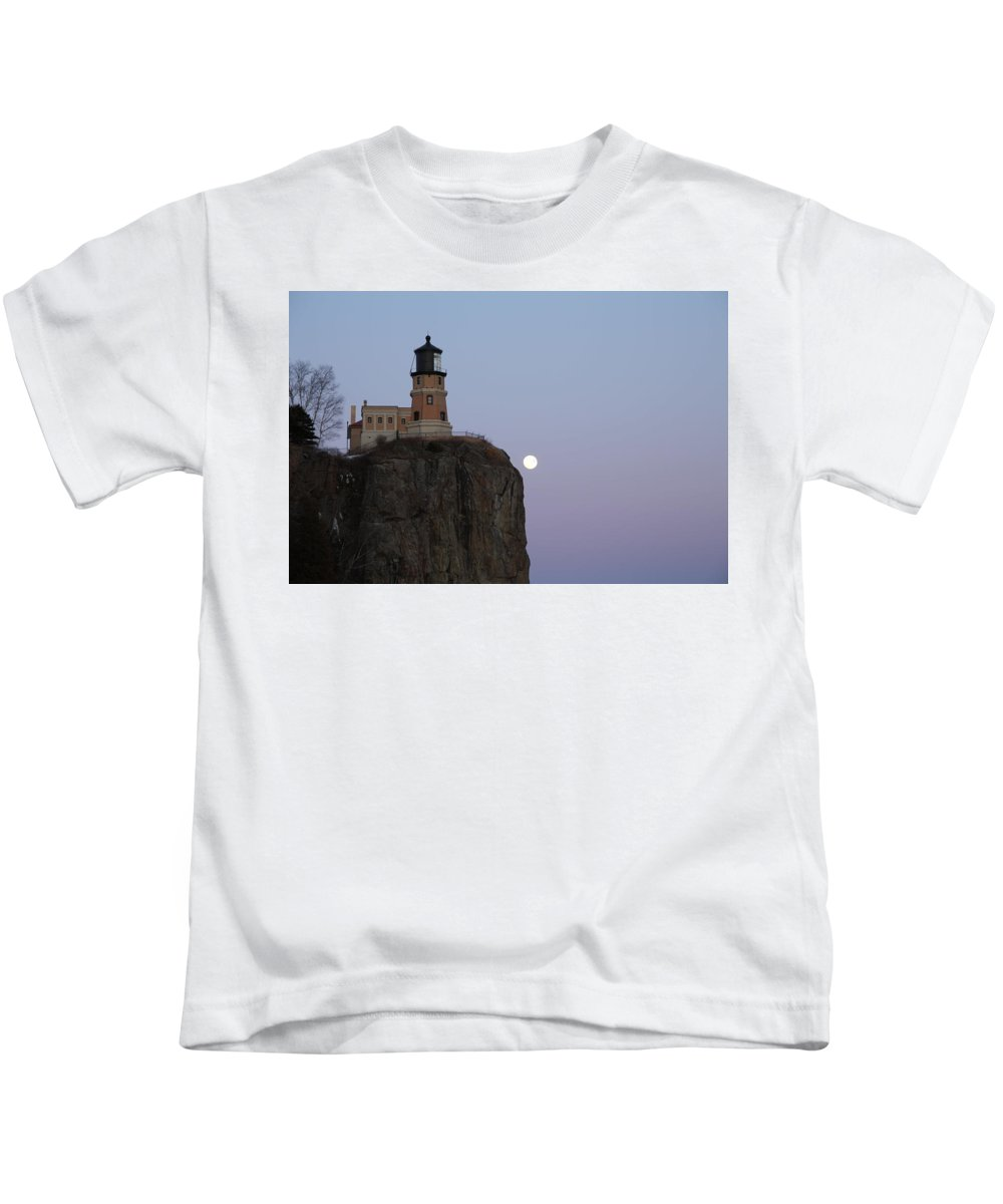 Full Moon Kids T-Shirt featuring the photograph Full Moon Over Split Rock by Nancy Dunivin