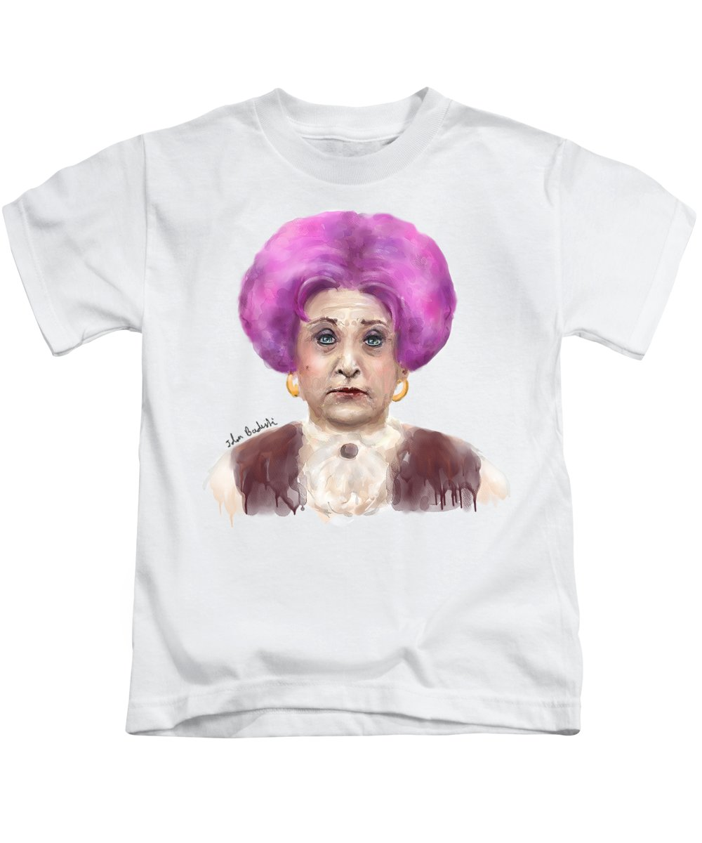 Funny Kids T-Shirt featuring the digital art Funny Looking Old Lady With  Crazy Pink f787f293c52c