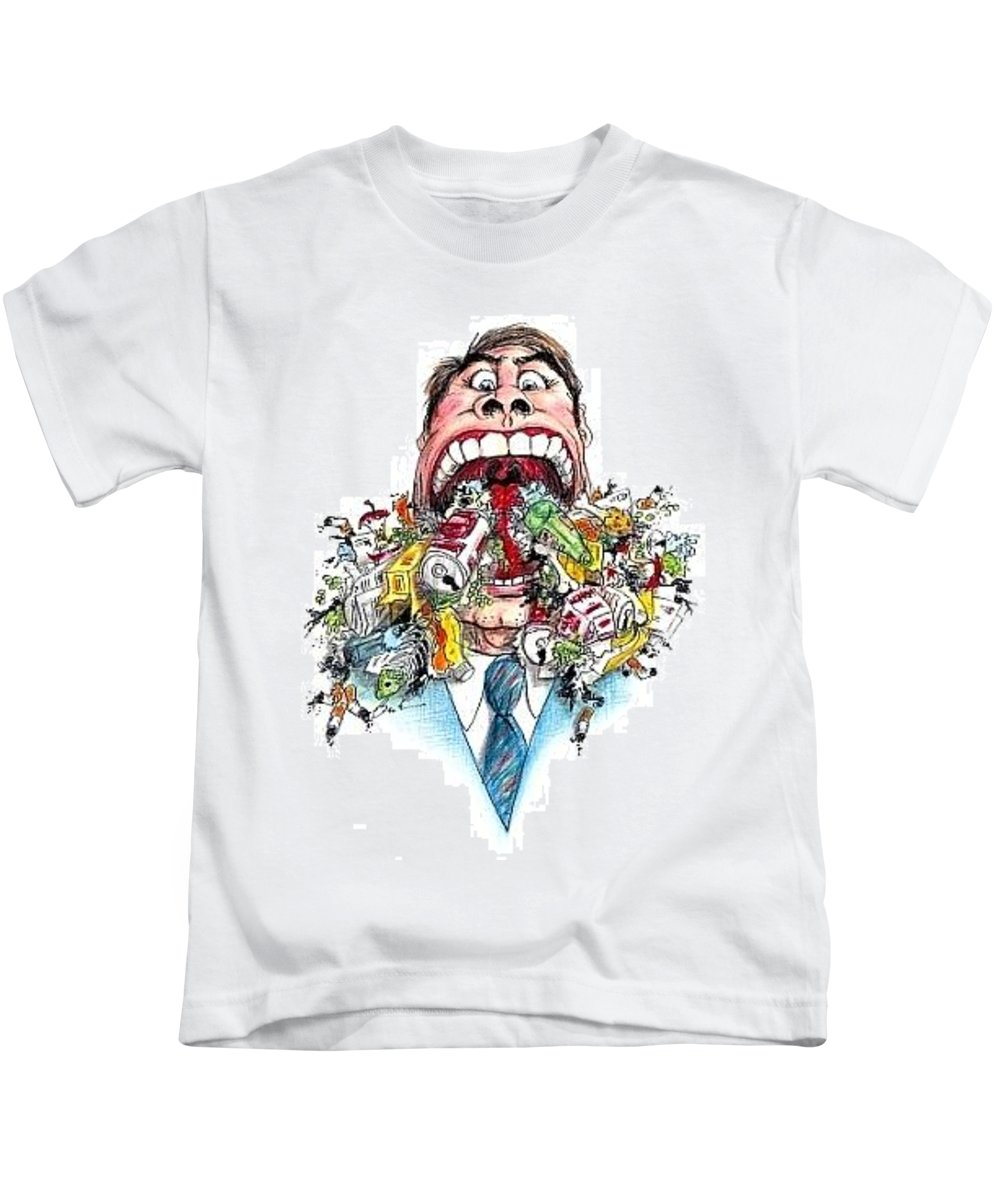 Humor Get Even Kids T-Shirt featuring the drawing Garbage Mouth by Bruce Lennon