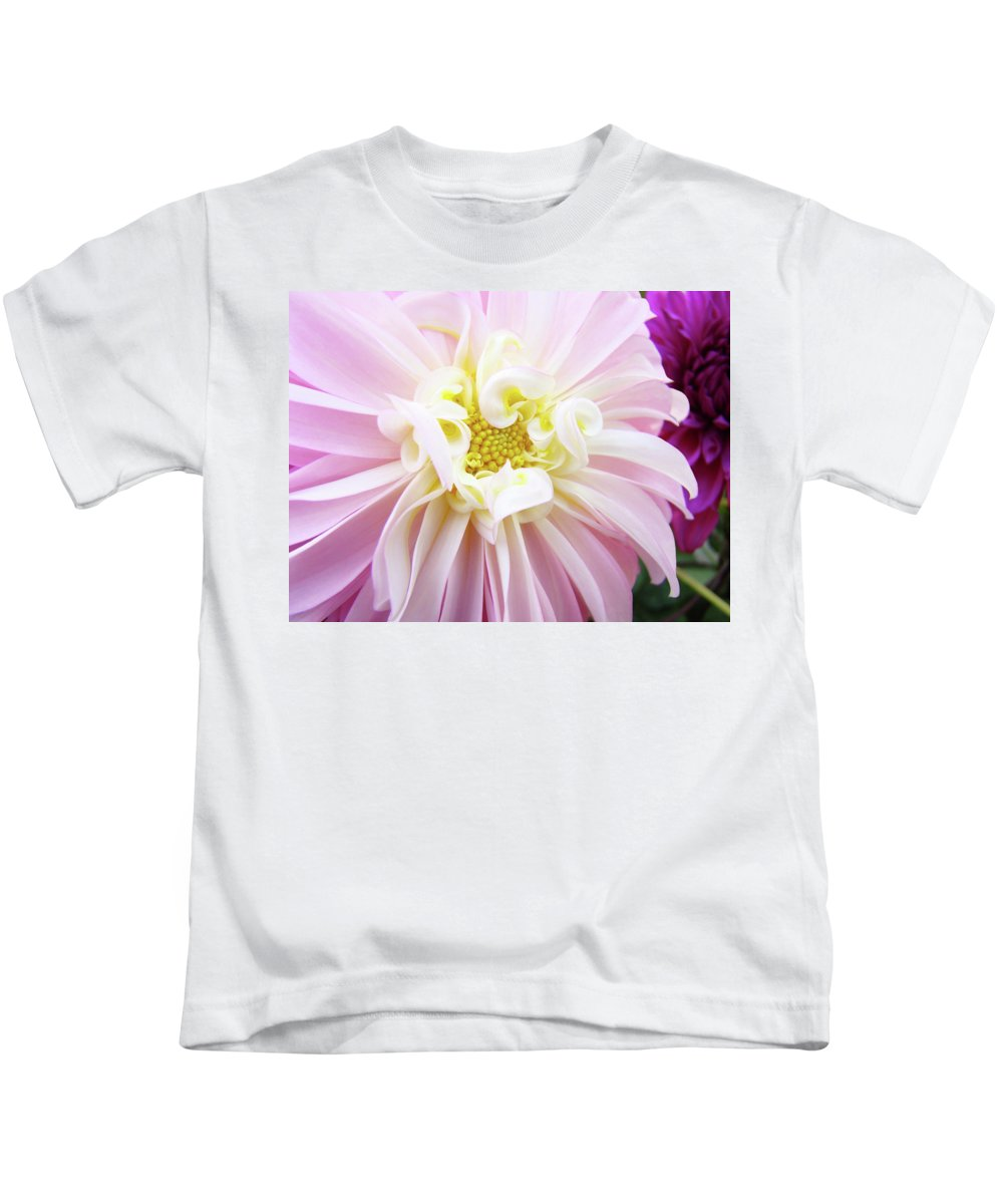 Dahlia Kids T-Shirt featuring the photograph Garden Floral Art Pink Dahlia Flower Baslee Troutman by Baslee Troutman