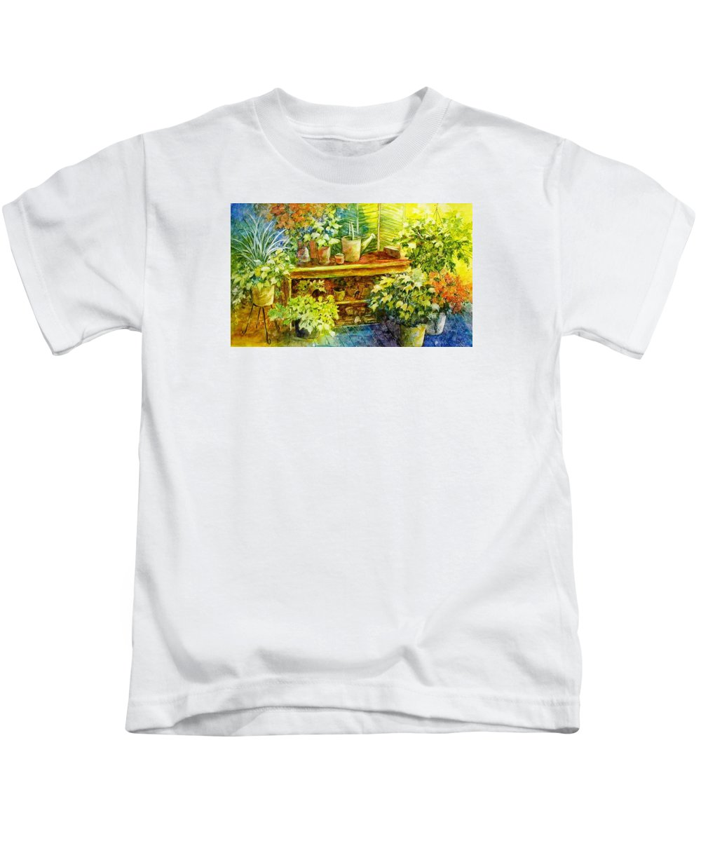 Greenhouse;plants;flowers;gardener;workbench;sprinkling Can;contemporary Kids T-Shirt featuring the painting Gardener's Joy by Lois Mountz