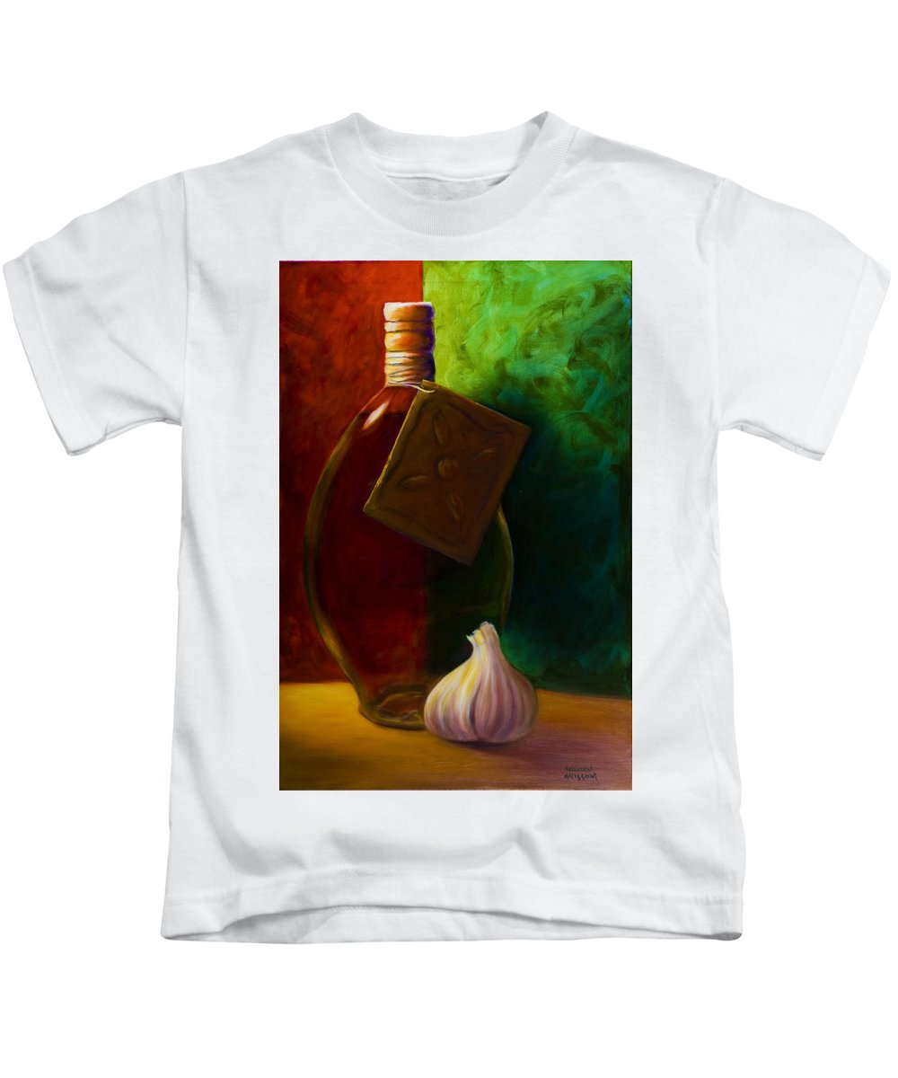 Shannon Grissom Kids T-Shirt featuring the painting Garlic And Oil by Shannon Grissom