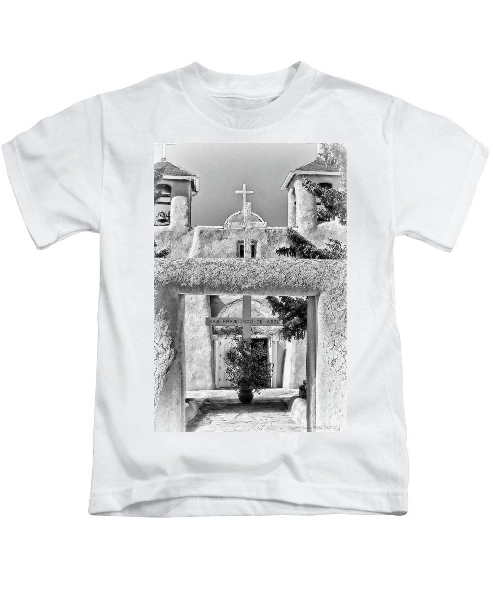 Santa Kids T-Shirt featuring the photograph Gate To Ranchos Church Black And White by Charles Muhle