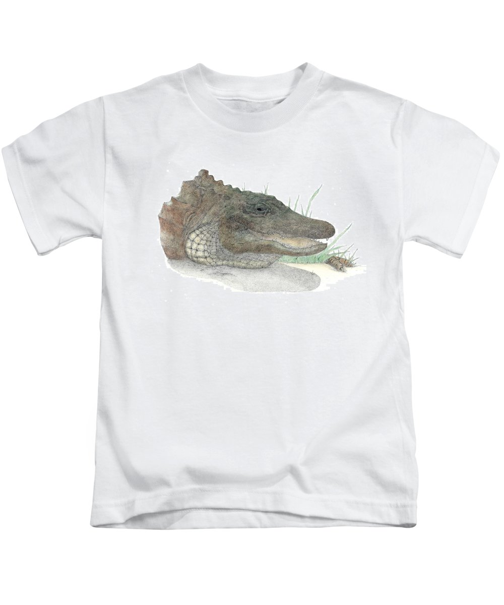 Gator Kids T-Shirt featuring the drawing Gator by David Weaver