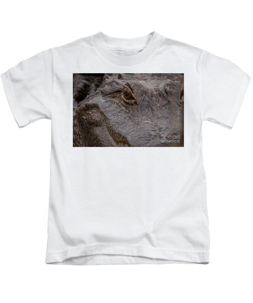 Gator Kids T-Shirt featuring the digital art Gators Eye by Bakedography Art