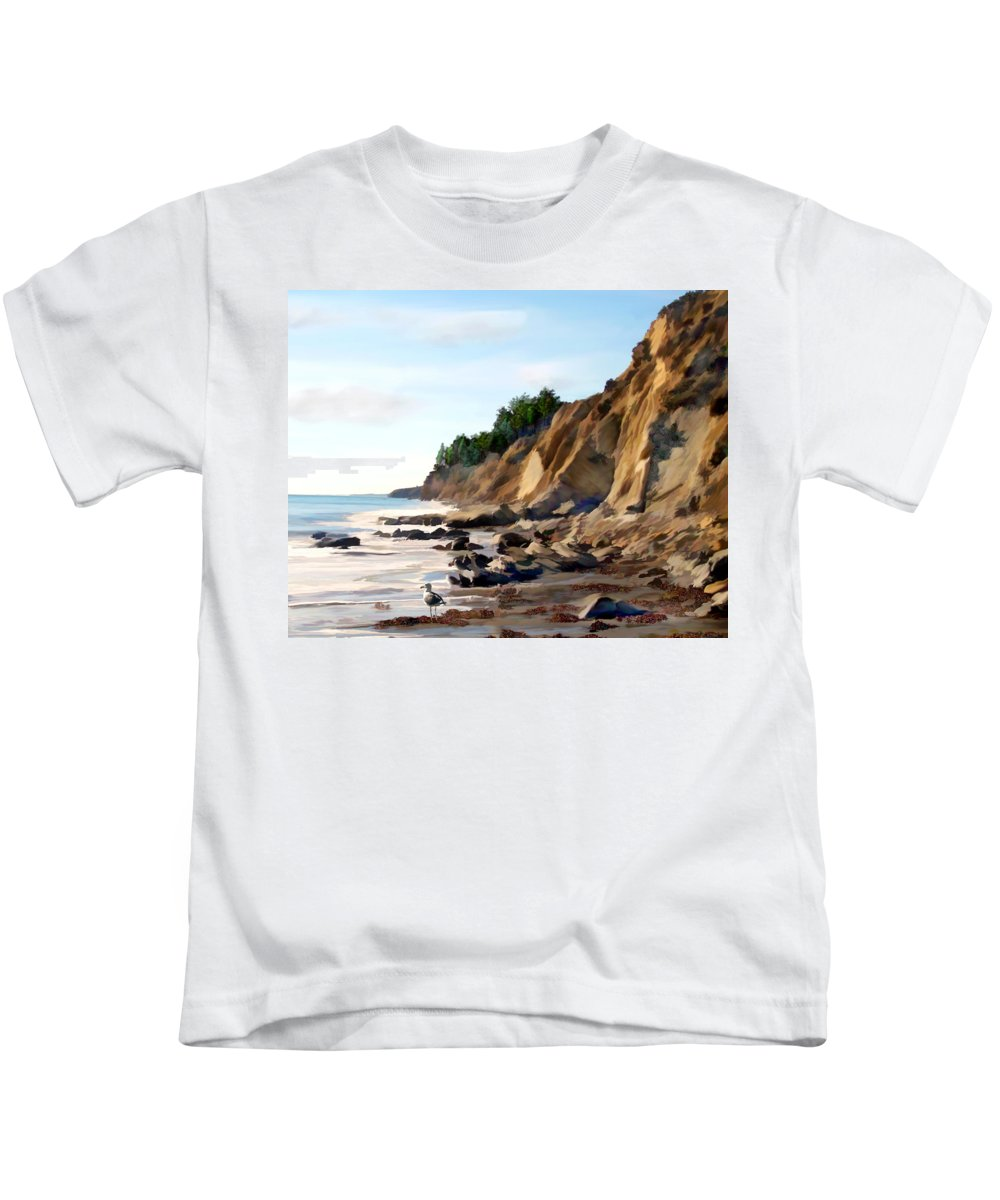 Ocean Kids T-Shirt featuring the photograph Gaviota by Kurt Van Wagner