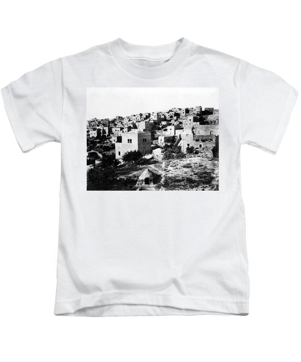 Bethlehem Kids T-Shirt featuring the photograph General View Of Bethlehem 1800s by Munir Alawi