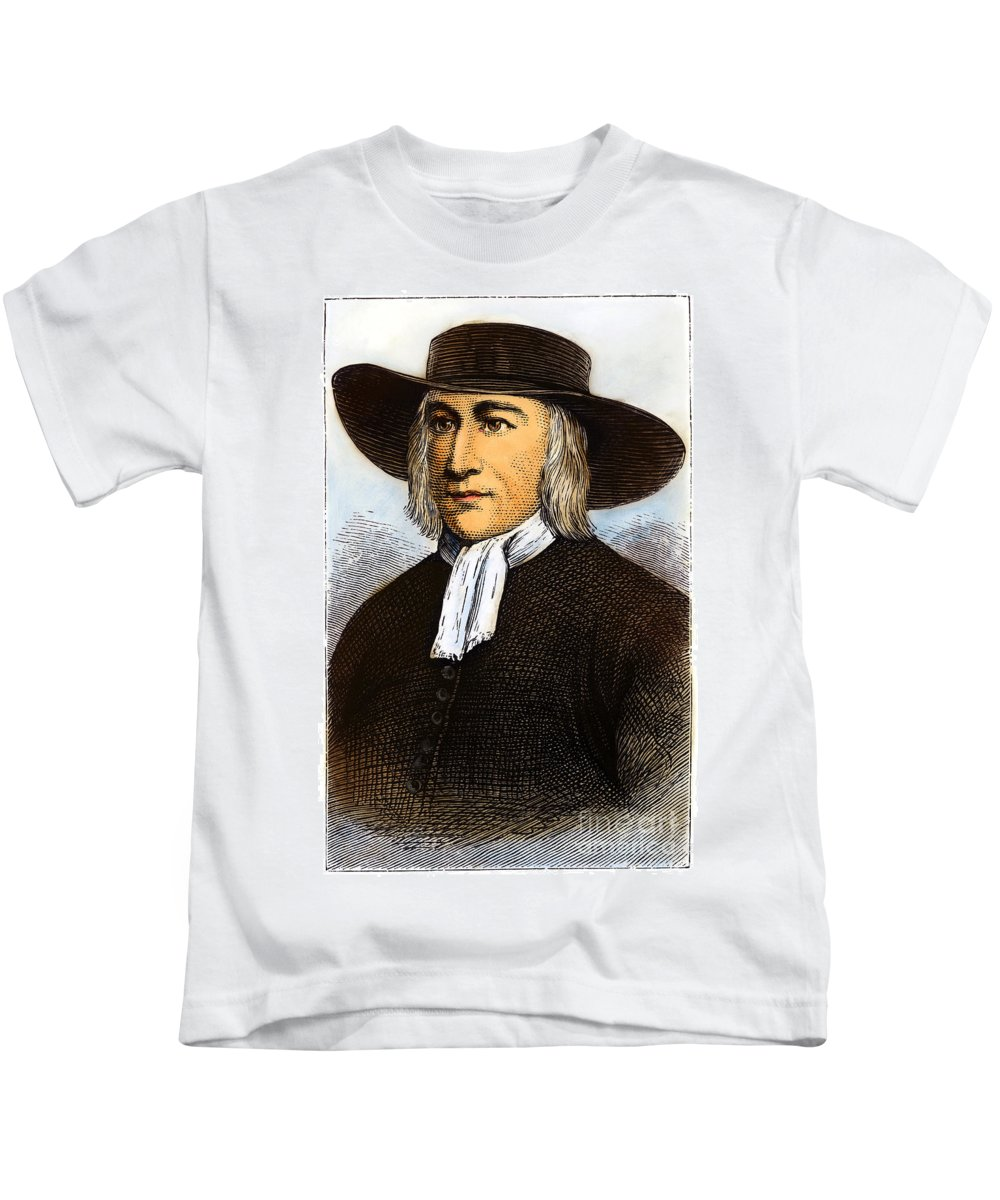 English Kids T-Shirt featuring the drawing George Fox, 1624-1691 by Granger