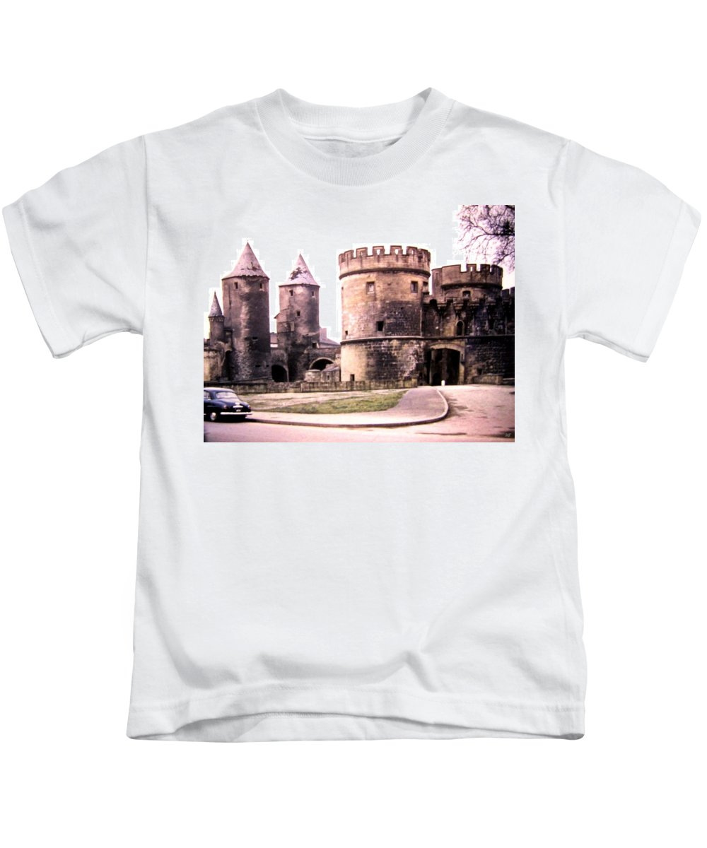 1955 Kids T-Shirt featuring the photograph German Gate In Metz 1955 by Will Borden