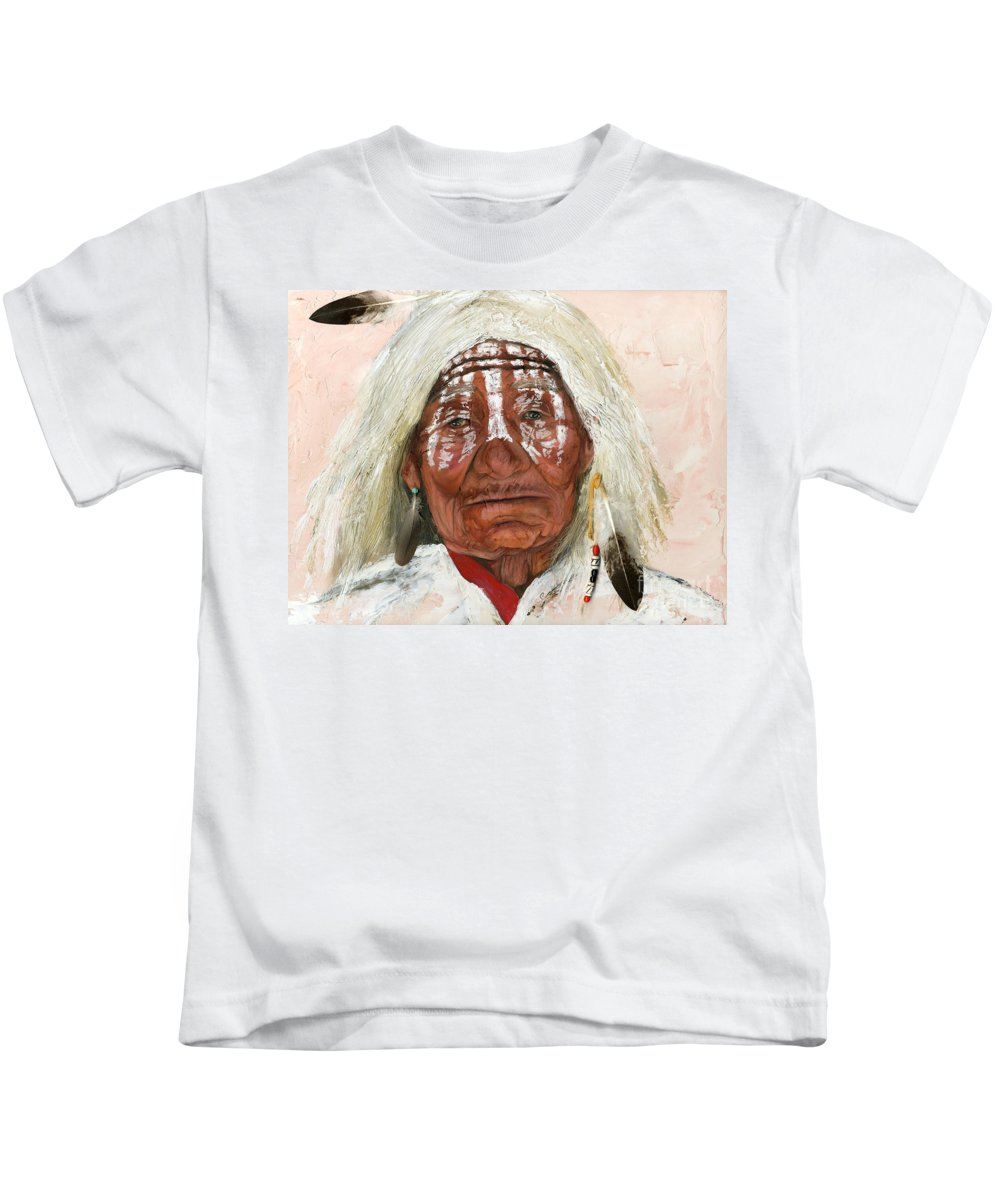 Southwest Art Kids T-Shirt featuring the painting Ghost Shaman by J W Baker