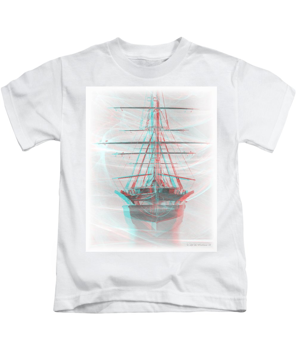 3d Kids T-Shirt featuring the photograph Ghost Ship - Use Red-cyan 3d Glasses by Brian Wallace