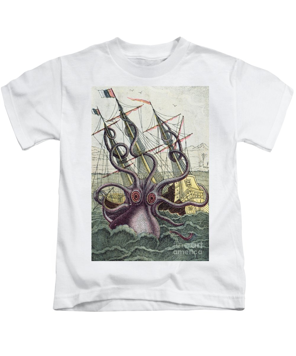 Monster Kids T-Shirt featuring the painting Giant Octopus by Denys Montfort