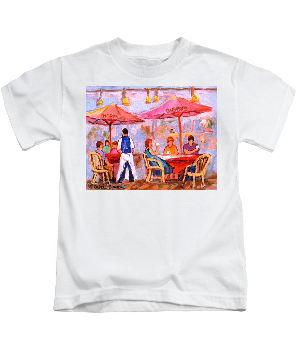 Gibbys Restaurant Montreal Street Scenes Kids T-Shirt featuring the painting Gibbys Cafe by Carole Spandau