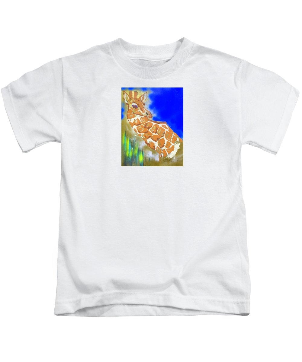 Impressionist Painting Kids T-Shirt featuring the painting Giraffe by J R Seymour