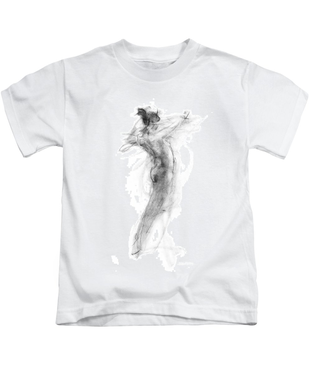 Nude Kids T-Shirt featuring the drawing Girl In Movement by Christopher Williams