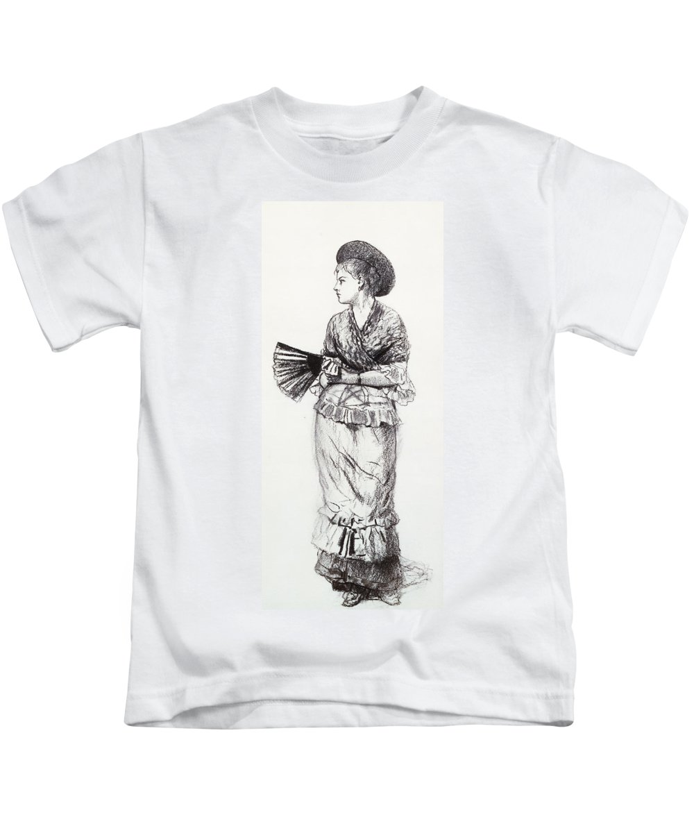 Girl With Fan Kids T-Shirt featuring the drawing Girl With Fan by Winslow Homer
