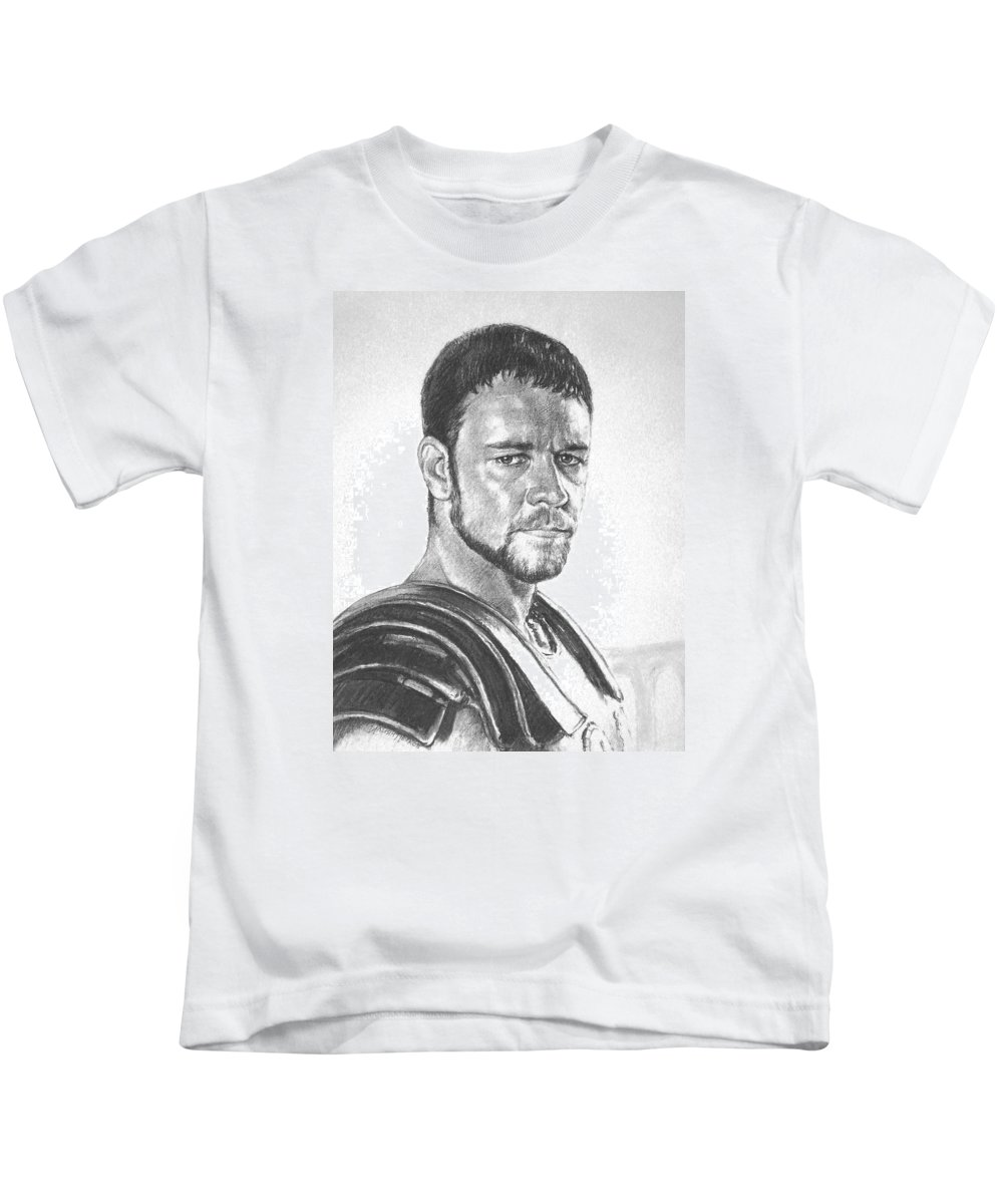 Portraits Kids T-Shirt featuring the drawing Gladiator by Iliyan Bozhanov