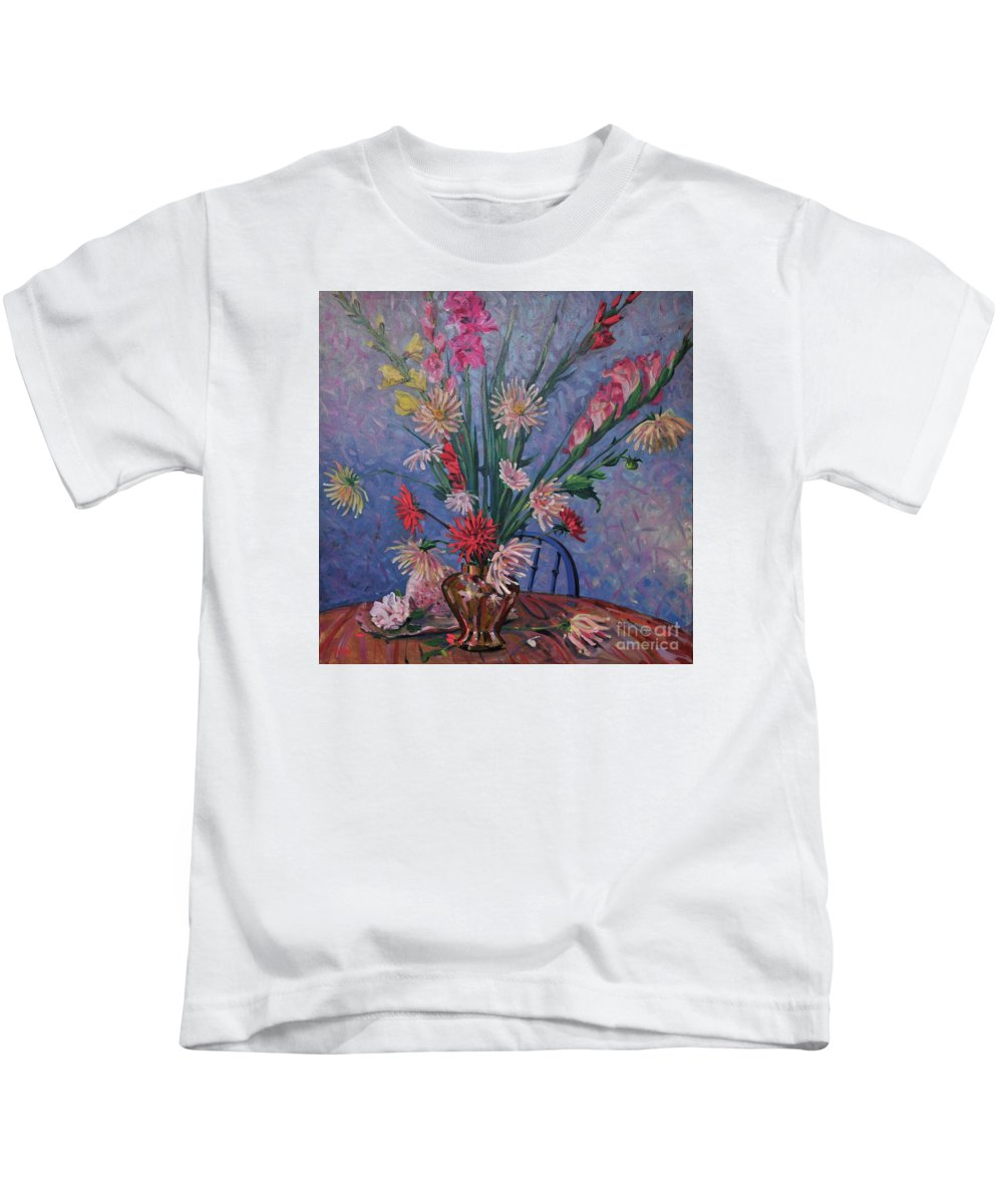 Floral Kids T-Shirt featuring the painting Gladiolas And Dahlias by Donald Maier