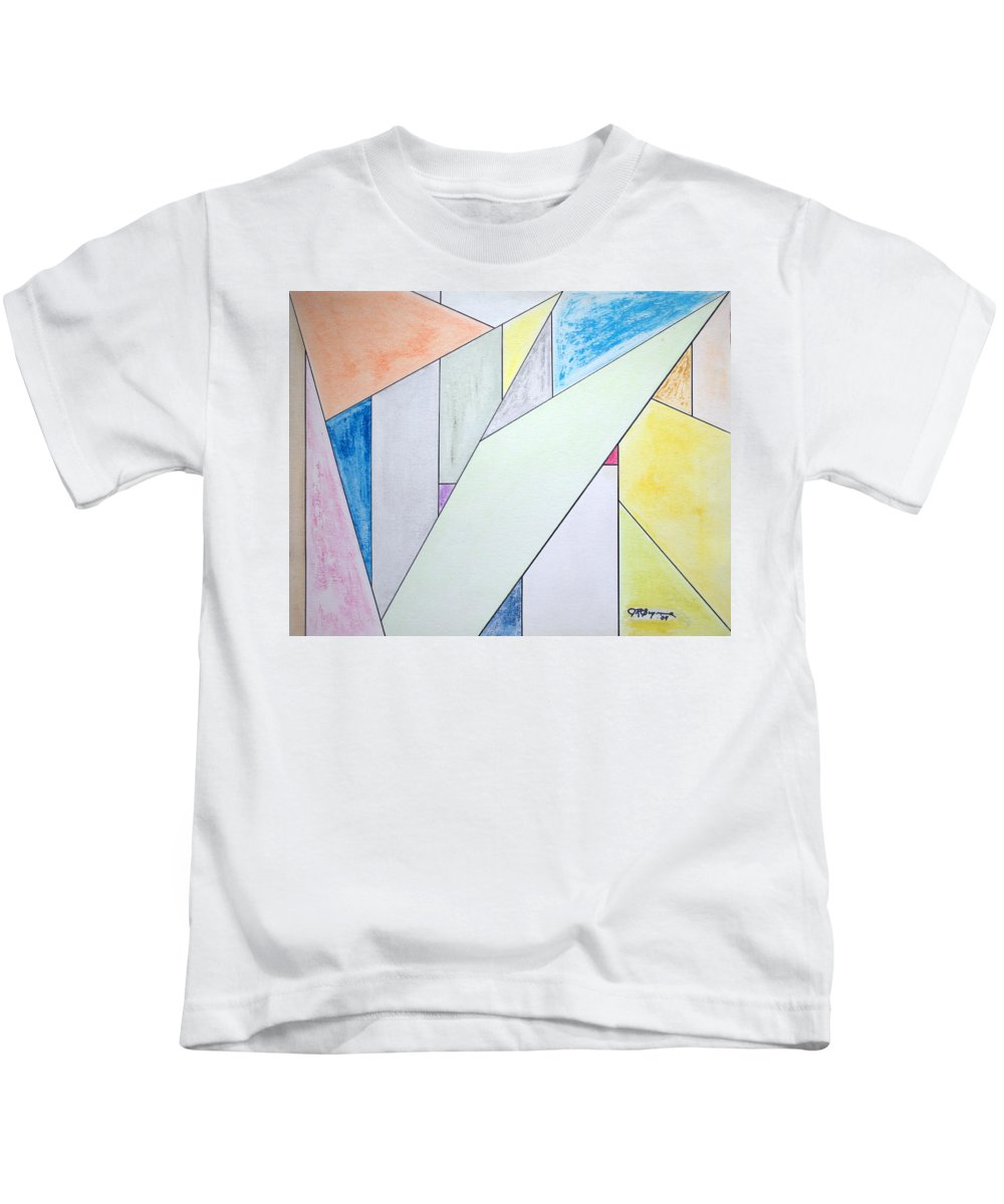 Buildings Kids T-Shirt featuring the mixed media Glass-scrapers by J R Seymour