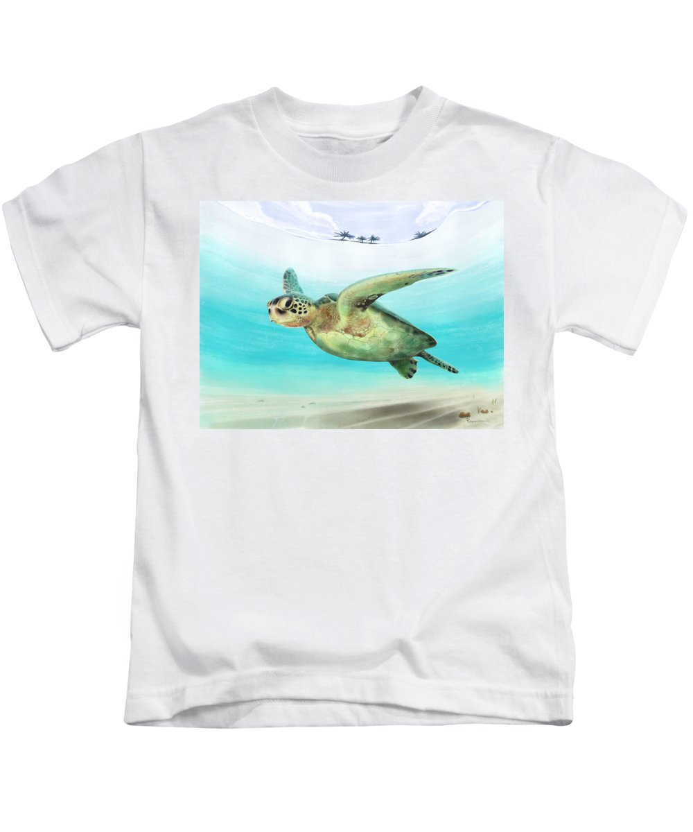 Sea Turtle Kids T-Shirt featuring the digital art Gliding The Coastline by Kevin Putman