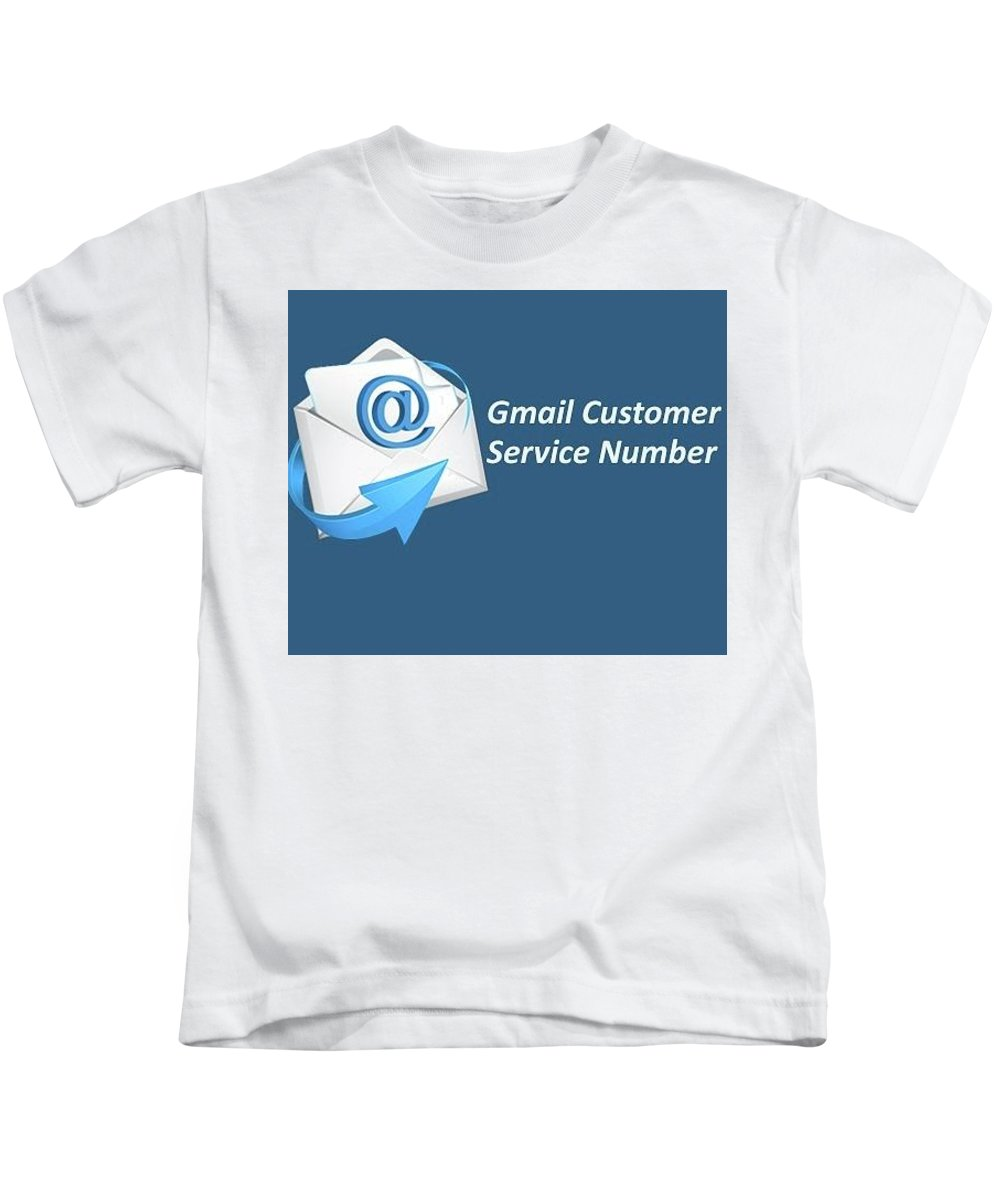 Gmail Customer Care Number Kids T-Shirt featuring the pyrography Gmail Customer Service Number by Elissa Scott