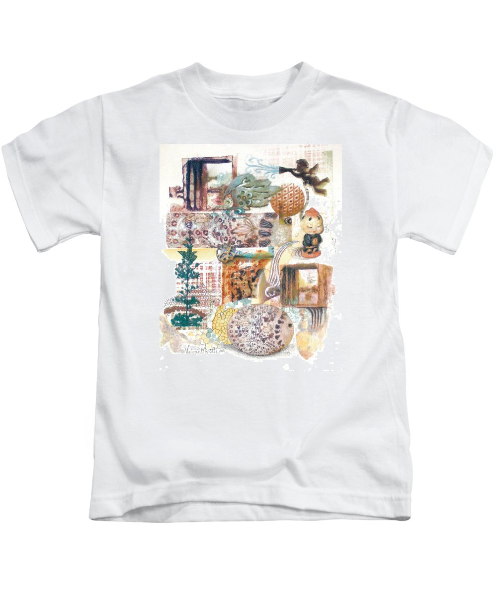 Abstract Kids T-Shirt featuring the painting Go With The Flow by Valerie Meotti