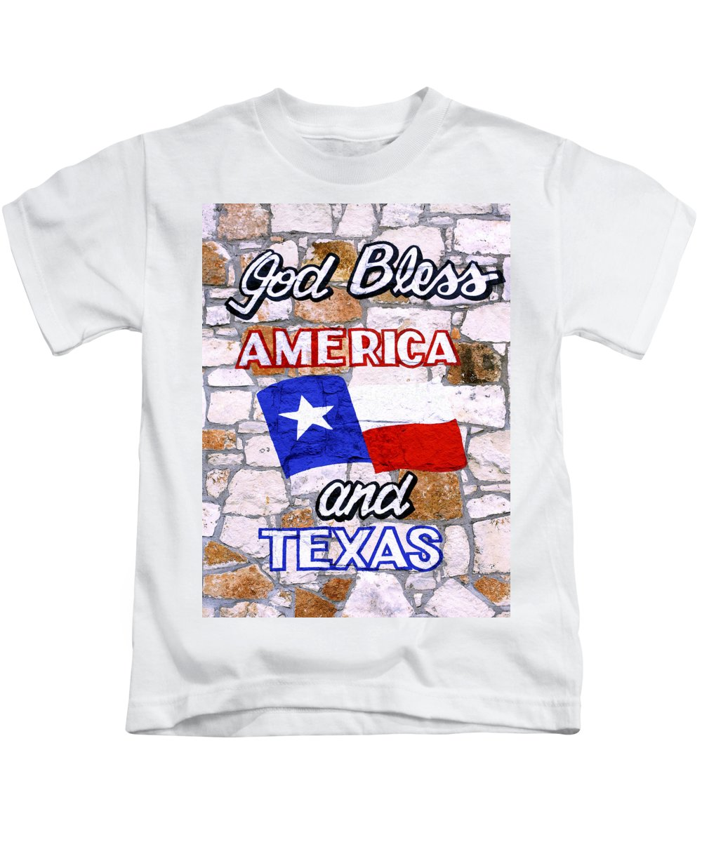 Americana Kids T-Shirt featuring the photograph God Bless America And Texas 2 by Marilyn Hunt