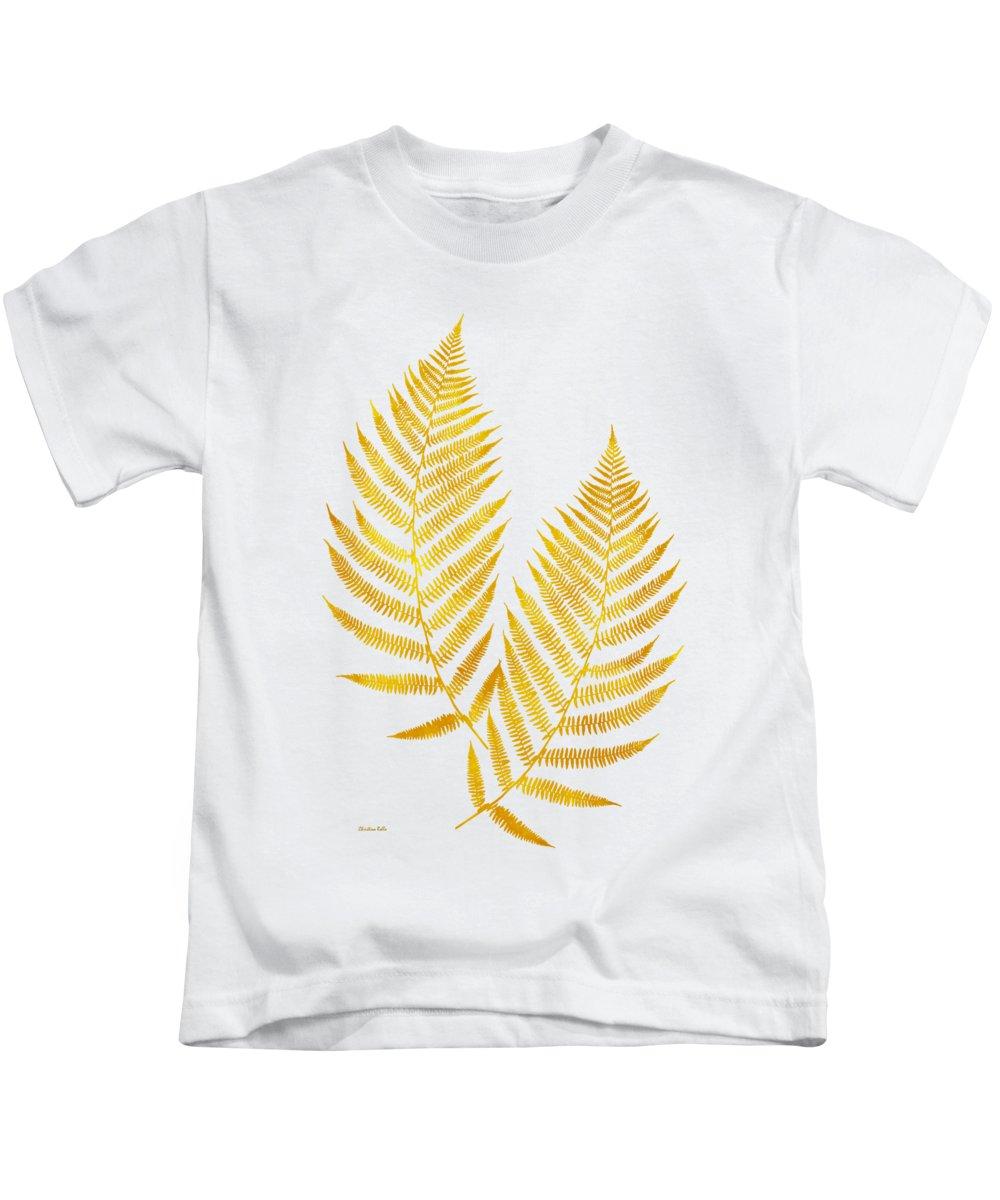 Gold Fern Leaf Art Kids T-Shirt