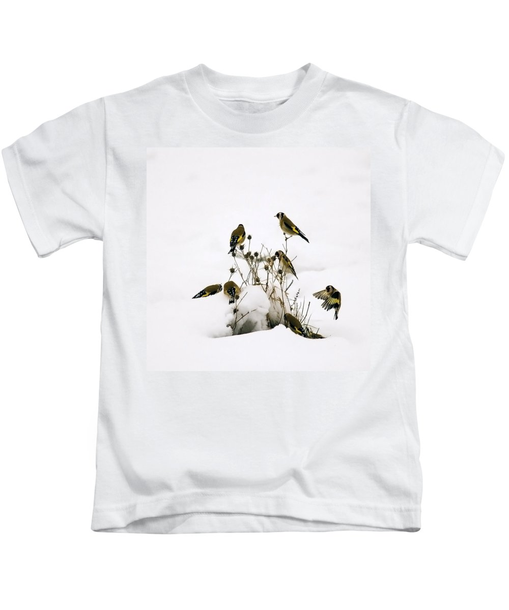Goldfinches Kids T-Shirt featuring the photograph Gold Finches In Snow by Cliff Norton