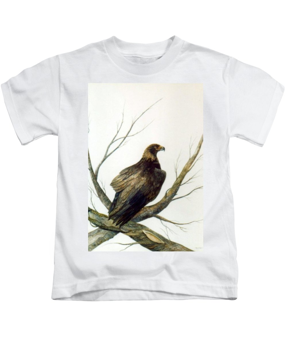 Eagle Kids T-Shirt featuring the painting Golden Eagle by Ben Kiger