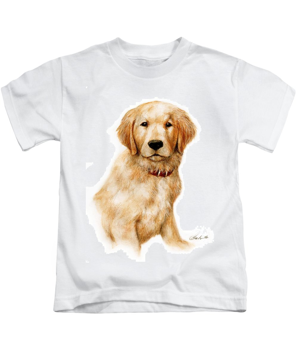 Dog Art Puppy Bruce Lennon Kids T-Shirt featuring the painting Golden Pup by Bruce Lennon