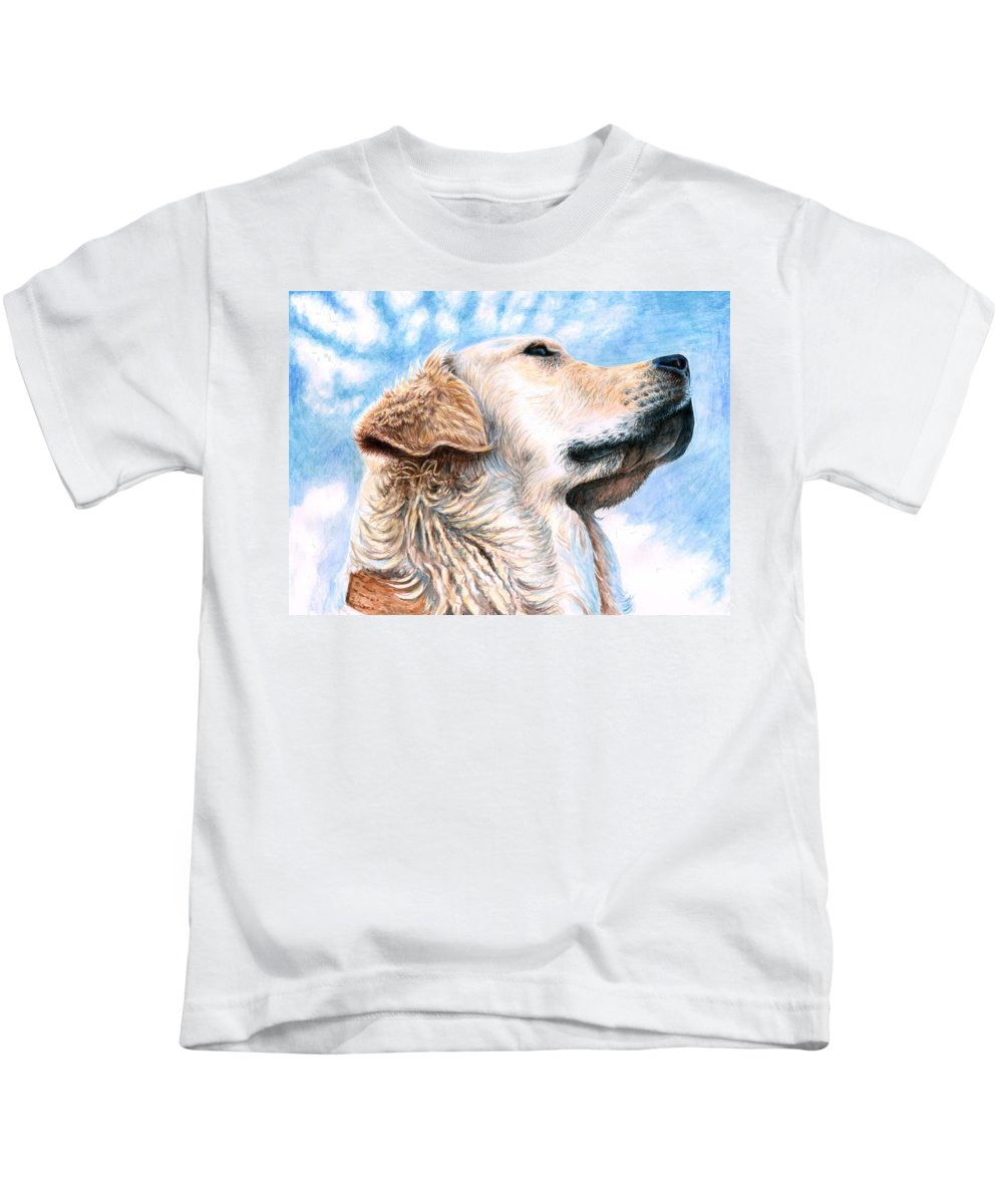 Dog Kids T-Shirt featuring the painting Golden Retriever by Nicole Zeug