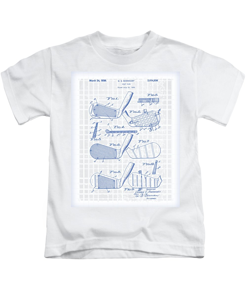 Antique Kids T-Shirt featuring the painting Golf Clubs Patent Drawing by Gary Grayson