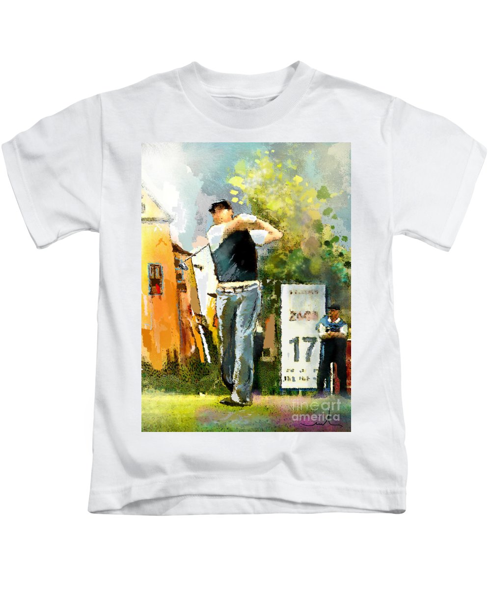 Golf Kids T-Shirt featuring the painting Golf In Club Fontana Austria 01 Dyptic Part 01 by Miki De Goodaboom