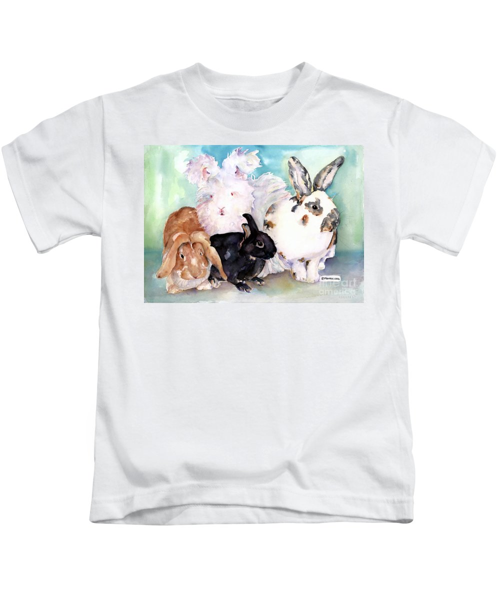 Animal Artwork Kids T-Shirt featuring the painting Good Hare Day by Pat Saunders-White