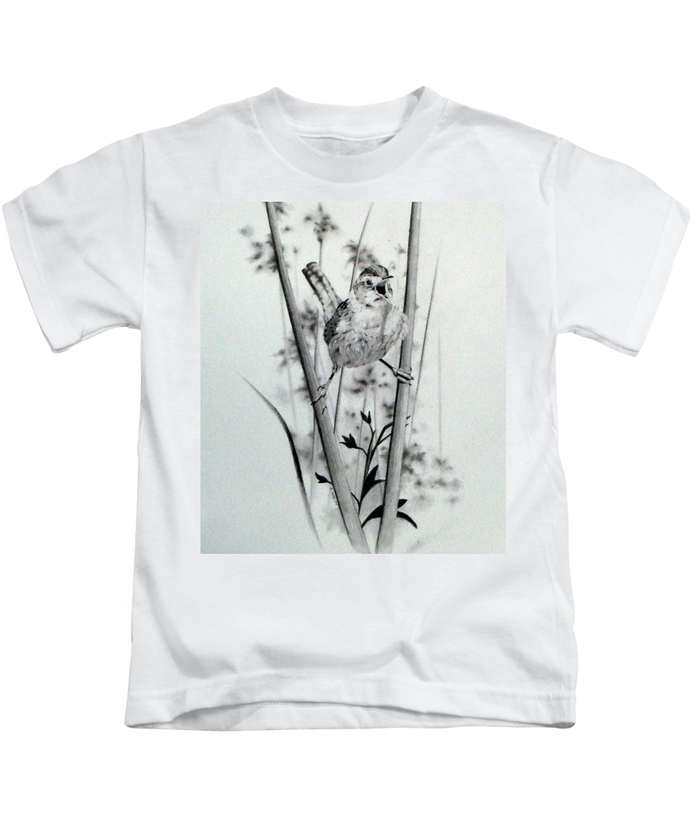 Birds Kids T-Shirt featuring the drawing Good Mornin by Stan White