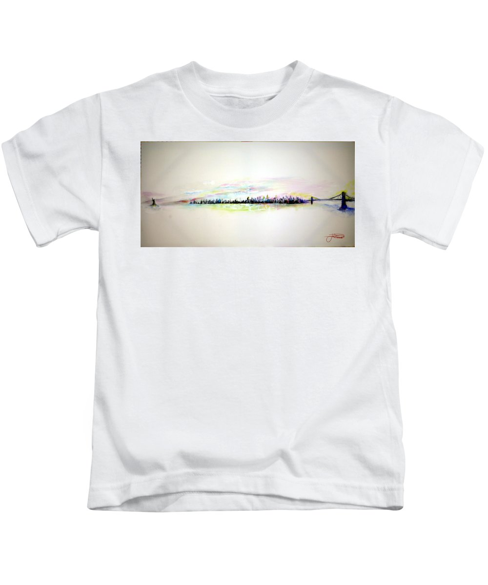 New York Kids T-Shirt featuring the painting Good Morning America by Jack Diamond