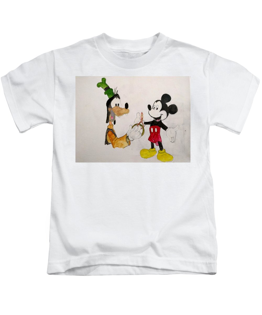 Goofy Kids T-Shirt featuring the painting Goofy And Mickey by Kenneth Pollard