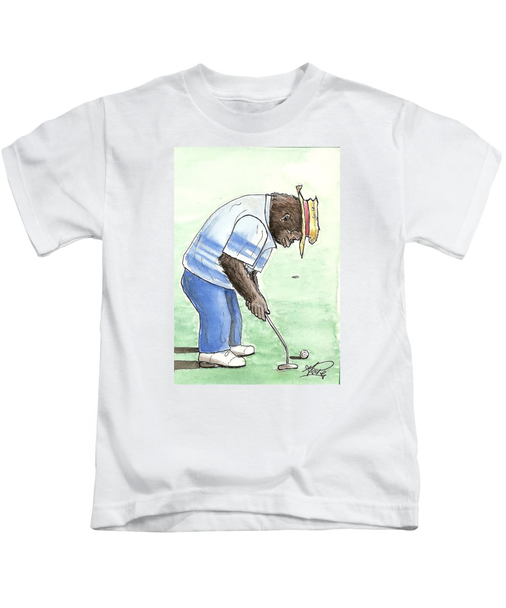 Golf Kids T-Shirt featuring the painting Got You Now by George I Perez