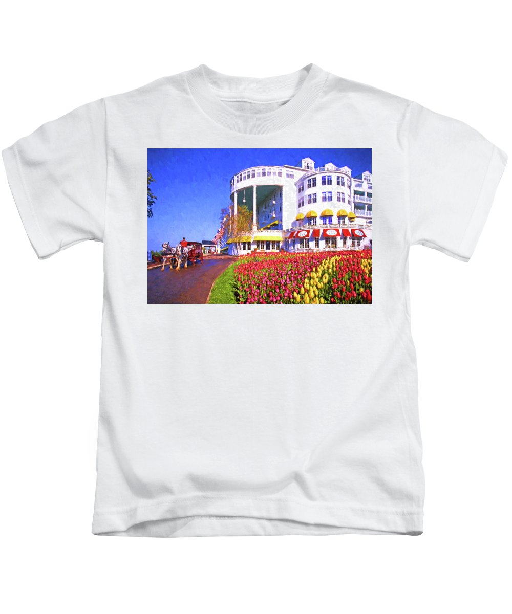 Digital Painting Kids T-Shirt featuring the digital art Grand Hotel Tulips by Dennis Cox