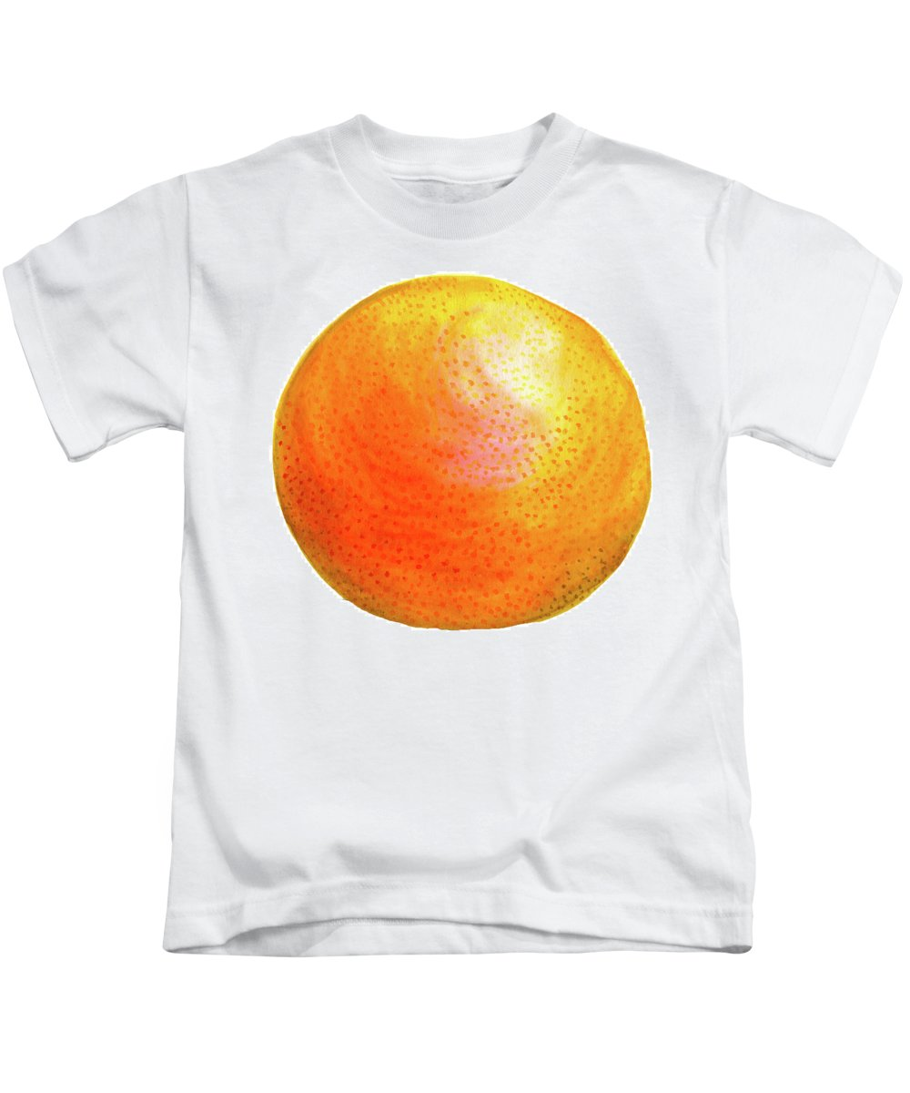 Watercolor Painting Kids T-Shirt featuring the painting Grapefruit by Erin Sparler