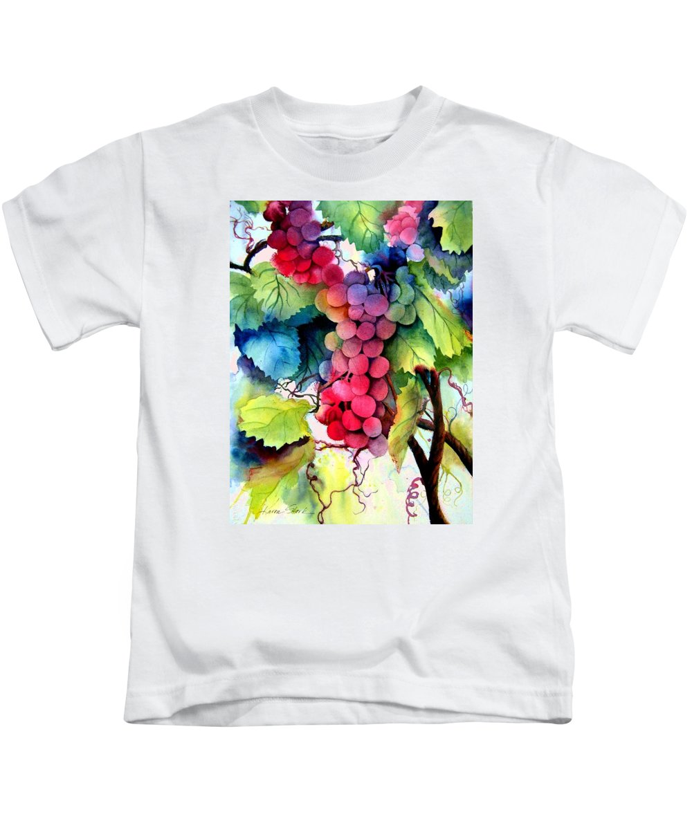 Grapes Kids T-Shirt featuring the painting Grapes by Karen Stark