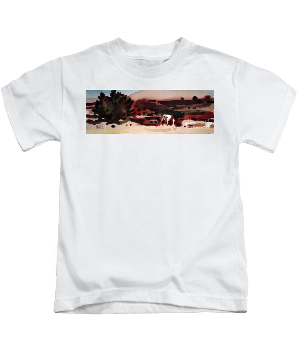 Horse Kids T-Shirt featuring the painting Grazing Pinto by Donald Maier
